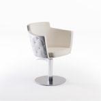 CINDARELLA Mademoiselle kappersstoel op ronde schijfvoet met knopen