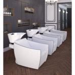 CINDARELLA 4 Mademoiselle wasunits met witte zetel en witte wasunit in een salon