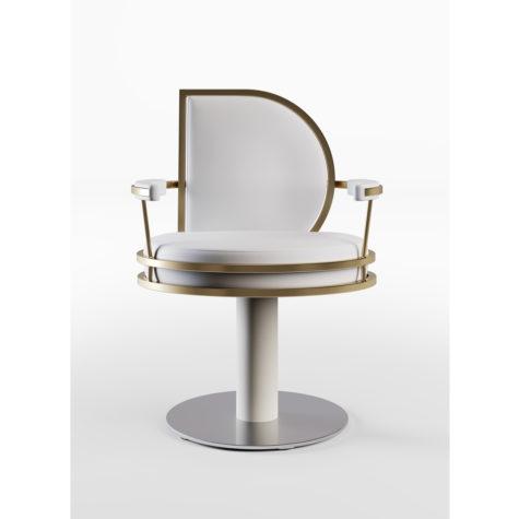 CINDARELLA Watson kappersstoel in wit met goud op ronde schijfvoet vooraanzicht