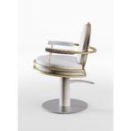 CINDARELLA Watson kappersstoel in wit met goud op ronde schijfvoet zijaanzicht